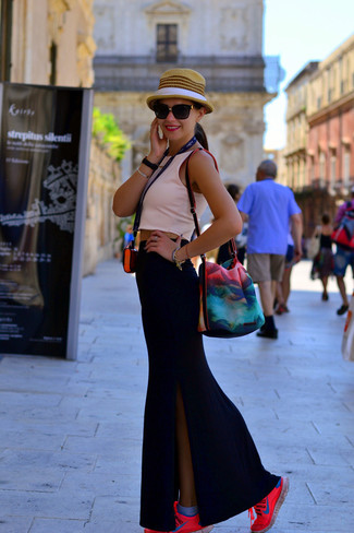How to wear: khaki straw hat, hot pink athletic shoes, black slit maxi skirt, pink cropped top