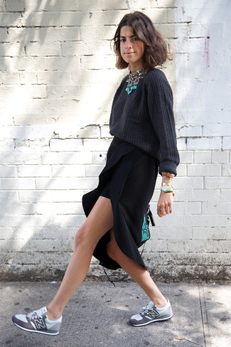 How to wear: mint leather satchel bag, grey athletic shoes, black slit midi skirt, charcoal oversized sweater