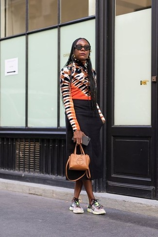 How to wear: tan leather crossbody bag, multi colored athletic shoes, black midi skirt, multi colored tie-dye turtleneck