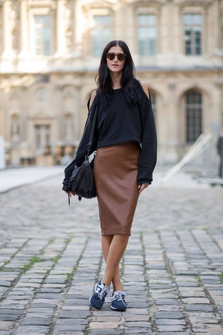 How to wear: black leather crossbody bag, navy athletic shoes, brown leather pencil skirt, black sweatshirt