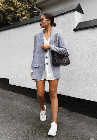 How to wear: dark brown leather satchel bag, white athletic shoes, white shirtdress, grey check blazer