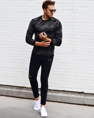 How to wear: black sunglasses, white athletic shoes, black ripped skinny jeans, charcoal camouflage long sleeve t-shirt