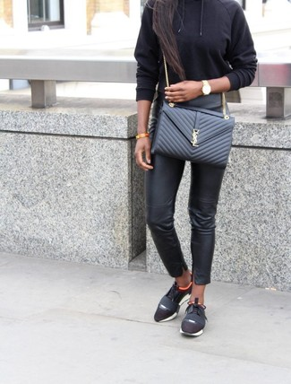 How to wear: black quilted leather crossbody bag, black athletic shoes, black leather skinny pants, black hoodie