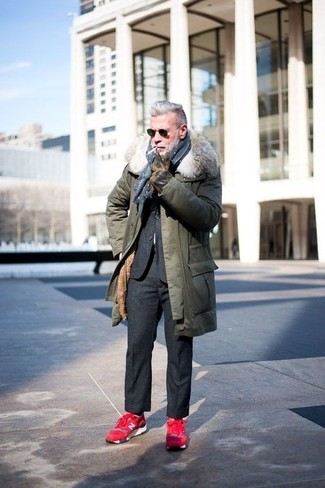 How to wear: navy and white polka dot scarf, red athletic shoes, charcoal wool suit, olive parka