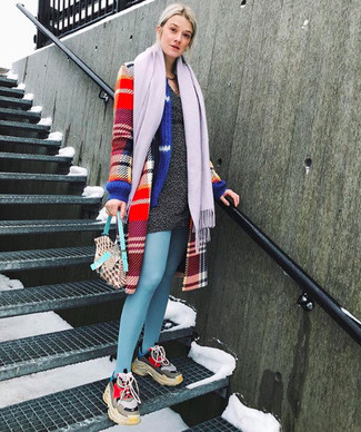 How to wear: light violet scarf, multi colored athletic shoes, charcoal sweater dress, red plaid coat