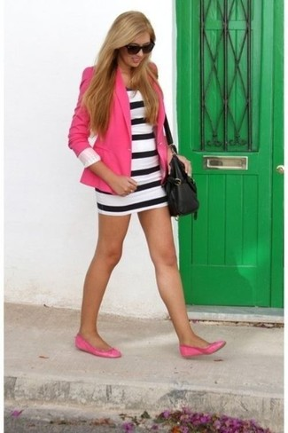 How to wear: black leather crossbody bag, hot pink leather ballerina shoes, white and black horizontal striped bodycon dress, hot pink blazer