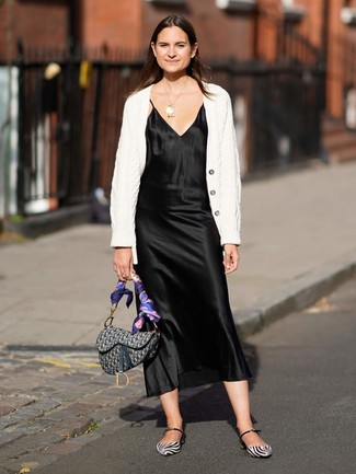 How to wear: grey print canvas satchel bag, white and black leather ballerina shoes, black satin cami dress, white knit cardigan