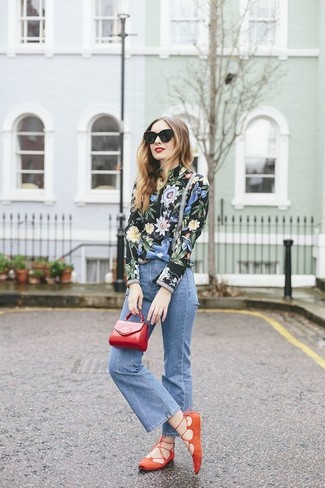 How to wear: red leather clutch, orange suede ballerina shoes, blue flare jeans, black floral long sleeve blouse