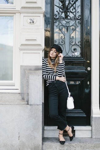 How to wear: white leather crossbody bag, black leather ballerina shoes, black jeans, black and white horizontal striped turtleneck