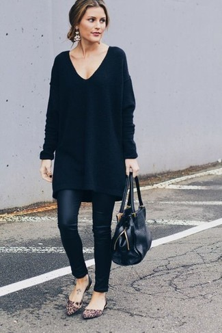How to wear: black leather tote bag, brown leopard suede ballerina shoes, black leather leggings, black sweater dress