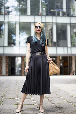 How to wear: tan leather bucket bag, beige leather ballerina shoes, black pleated midi skirt, black embellished crew-neck t-shirt