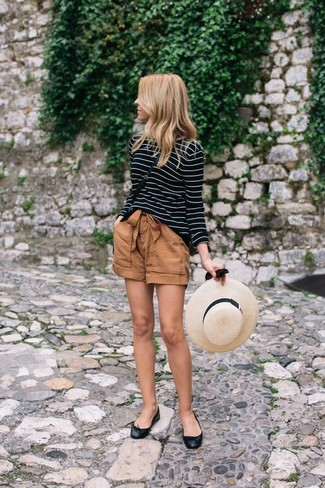 How to wear: black leather crossbody bag, black leather ballerina shoes, brown shorts, black and white horizontal striped long sleeve t-shirt
