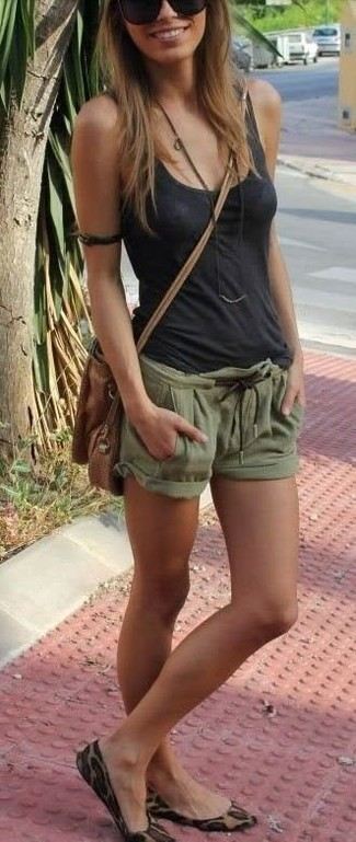How to wear: brown leather crossbody bag, tan leopard suede ballerina shoes, olive shorts, charcoal tank