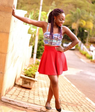 How to wear: gold bracelet, black leather ballerina shoes, red skater skirt, multi colored print cropped top
