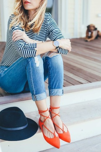 How to wear: navy wool hat, orange leather ballerina shoes, blue ripped skinny jeans, white and navy horizontal striped long sleeve t-shirt