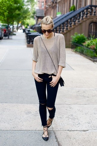 How to wear: black leather crossbody bag, black leather ballerina shoes, black ripped skinny jeans, grey oversized sweater