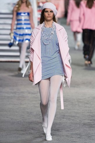 How to wear: white beret, white leather ballerina shoes, white and blue vertical striped tunic, pink vertical striped coat
