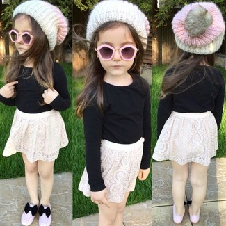How to wear: white beanie, pink ballet flats, white lace skirt, black long sleeve t-shirt
