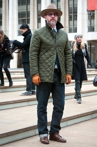 Men's Olive Quilted Barn Jacket, Dark Green Cardigan, White Dress Shirt, Navy Jeans