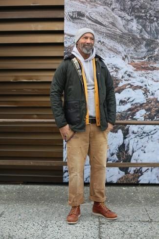 How to wear: olive barn jacket, yellow cardigan, grey hoodie, khaki jeans