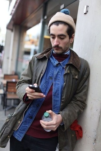 How to wear: olive barn jacket, burgundy crew-neck sweater, blue denim shirt, white and navy vertical striped long sleeve shirt