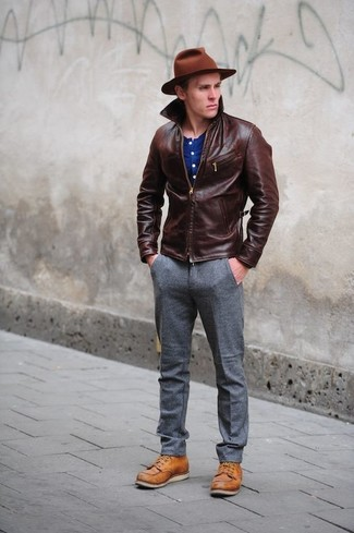 How to wear: dark brown leather barn jacket, blue henley shirt, grey wool dress pants, tobacco leather casual boots