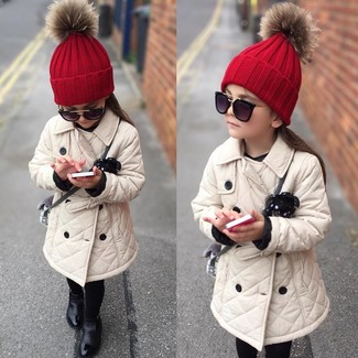 How to wear: black sunglasses, red beanie, black boots, beige trench coat