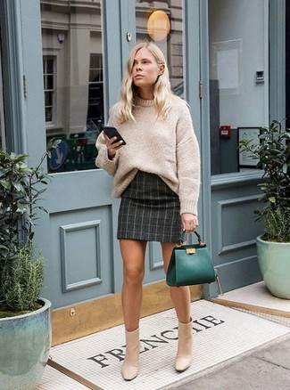 How to wear: dark green leather tote bag, beige leather ankle boots, charcoal check mini skirt, beige knit oversized sweater