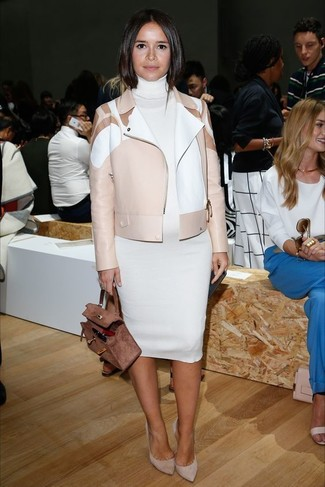 Miroslava Duma wearing Beige Leather Biker Jacket, White Sweater Dress, Grey Suede Pumps, Brown Suede Satchel Bag