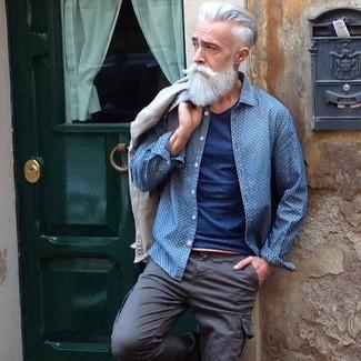 How to wear: beige wool blazer, blue polka dot denim shirt, blue crew-neck t-shirt, grey cargo pants