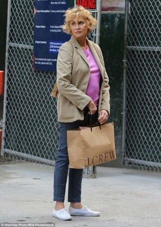 Lauren Hutton wearing Beige Blazer, Hot Pink Crew-neck T-shirt, Navy Jeans, White Plimsolls