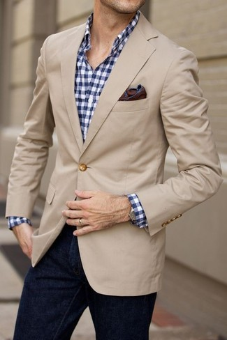How to wear: beige blazer, white and navy gingham long sleeve shirt, navy jeans, dark brown pocket square