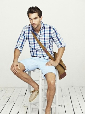 How to wear: brown canvas messenger bag, beige leather boat shoes, light blue shorts, white and blue gingham long sleeve shirt