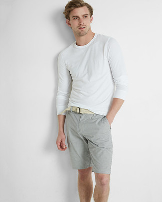 How to wear: beige woven canvas belt, grey shorts, white long sleeve t-shirt