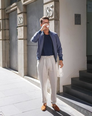 How to wear: tobacco suede loafers, beige linen chinos, navy crew-neck t-shirt, navy bomber jacket