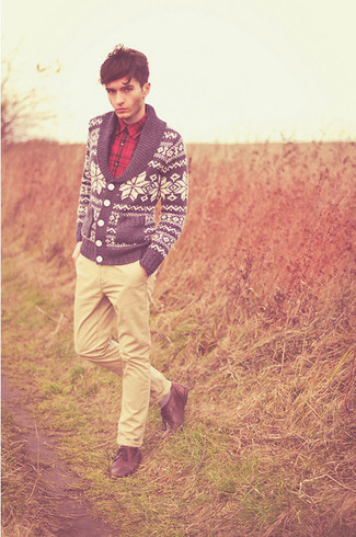 How to wear: brown leather derby shoes, beige chinos, red plaid long sleeve shirt, navy and white fair isle shawl cardigan