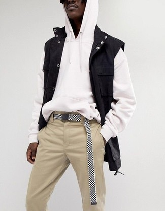 How to wear: black and white canvas belt, beige chinos, white hoodie, black denim gilet