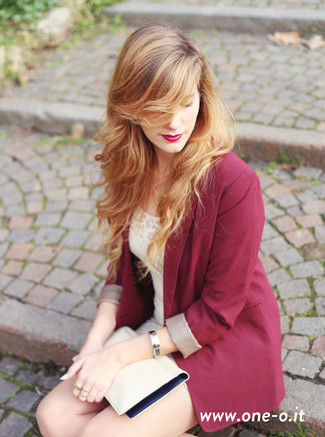 How to Wear a Burgundy Blazer For Women: This pairing of a burgundy blazer and a beige lace bodycon dress is beyond stylish and provides a laid-back and cool look.