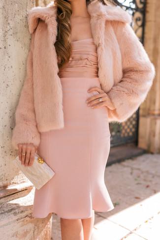 How to wear: beige clutch, pink sheath dress, pink fur jacket