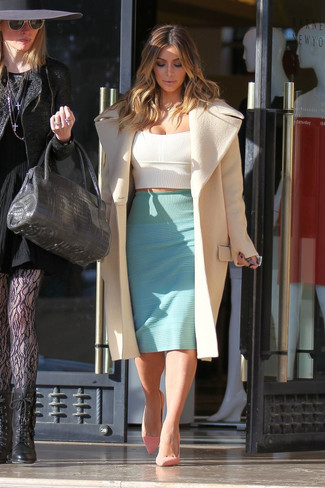 Kim Kardashian wearing Beige Coat, White Cropped Top, Mint Pencil Skirt, Pink Suede Pumps