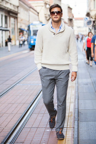 How To Wear Grey Dress Pants With a Beige Cowl-neck Sweater ...