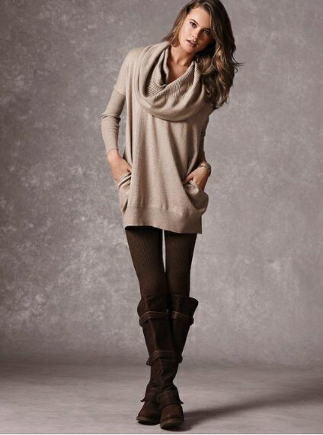 Womens Beige Cowl Neck Sweater Dark Brown Leggings Dark Brown