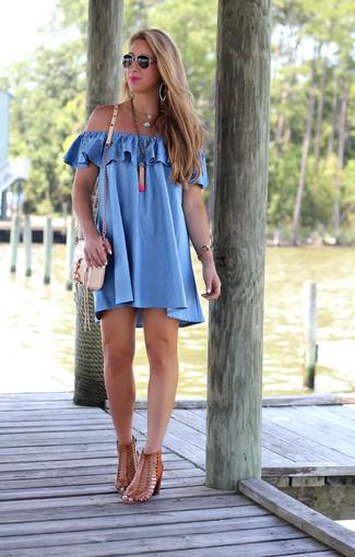 How to wear: orange pendant, beige leather crossbody bag, brown leather heeled sandals, blue off shoulder dress