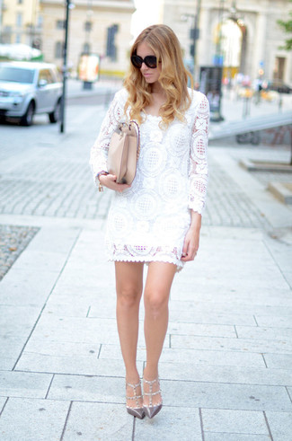 How to wear: black sunglasses, beige leather crossbody bag, grey studded leather pumps, white lace shift dress