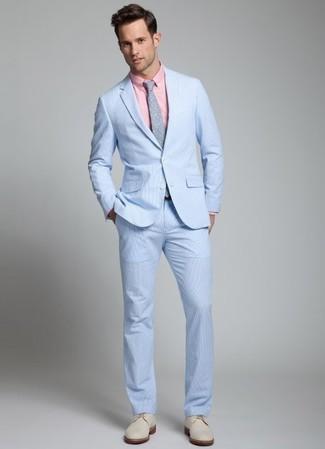 How to wear: grey polka dot tie, beige suede derby shoes, pink dress shirt, light blue seersucker suit