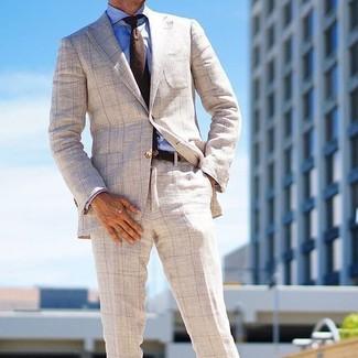 How to wear: dark brown wool tie, beige check dress pants, blue dress shirt, beige check blazer