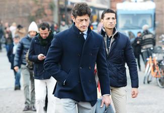 How to wear: beige dress pants, light blue dress shirt, navy wool double breasted blazer