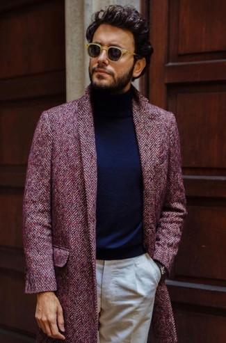 How to wear: tan sunglasses, beige dress pants, navy turtleneck, burgundy herringbone overcoat