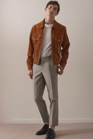 How to wear: black leather derby shoes, beige wool dress pants, white crew-neck t-shirt, tobacco suede bomber jacket
