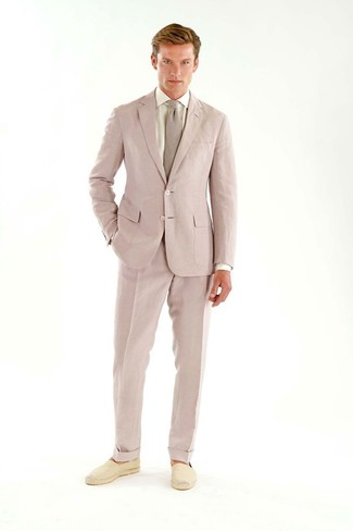 How to wear: pink tie, beige canvas espadrilles, white dress shirt, pink suit